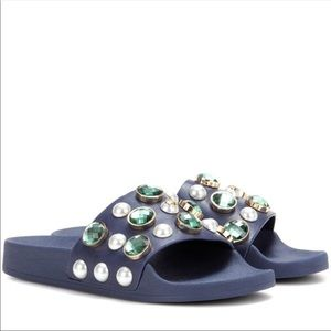 🆕 TORY BURCH jewel and pearl embellished slides